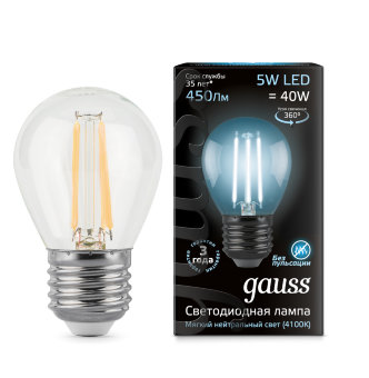 Лампа Gauss LED Filament Globe E27 5W 4100K 1/10/50