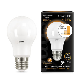 Лампа Gauss LED A60 10W E27 2700K step dimmable 1/10/50