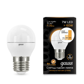 Лампа Gauss LED Globe E27 7W 2700K step dimmable 1/10/100