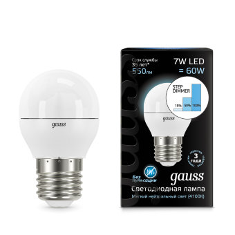 Лампа Gauss LED Globe E27 7W 4100K step dimmable 1/10/100