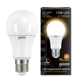 Лампа Gauss LED A60 globe 12W E27 2700K 1/10/40