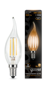Лампа Gauss LED Filament Candle tailed E14 5W 2700K 1/10/50