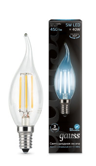 Лампа Gauss LED Filament Candle tailed E14 5W 4100K 1/10/50