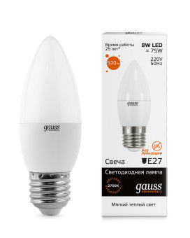 Лампа Gauss LED Elementary Candle 8W E27 2700K 1/10/50